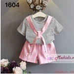 Set bộ áo kẻ kèm quần bé gái size 2-7 tuổi